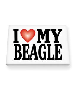 I Love Beagle Canvas square