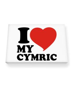 I Love My Cymric Canvas square