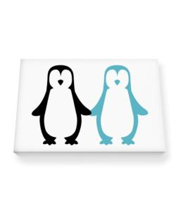 Penguin Always together Canvas square
