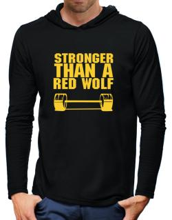 Stronger Than A Red Wolf Hooded Long Sleeve T-Shirt-Mens