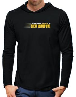 Faster Than A Great Horned Owl Hooded Long Sleeve T-Shirt-Mens