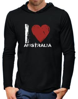 I Love Australia - Vintage Hooded Long Sleeve T-Shirt-Mens