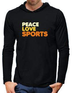 Peace Love Sports Hooded Long Sleeve T-Shirt-Mens