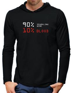90% Sparkling Wine 10% Blood Hooded Long Sleeve T-Shirt-Mens