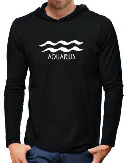 Aquarius - Symbol Hooded Long Sleeve T-Shirt-Mens
