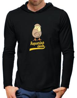 Aquarius Chick Hooded Long Sleeve T-Shirt-Mens