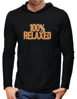 100% Relaxed Hooded Long Sleeve T-Shirt-Mens