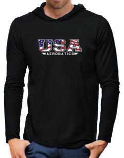 Usa Aerobatics / Flag Clip - Army Hooded Long Sleeve T-Shirt-Mens