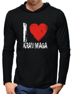 I Love Krav Maga Hooded Long Sleeve T-Shirt-Mens