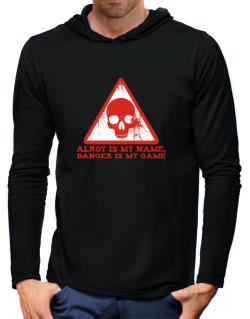 Alroy Is My Name, Danger Is My Game Hooded Long Sleeve T-Shirt-Mens