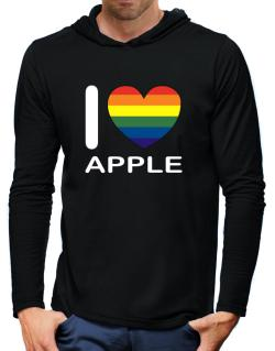 I Love Apple - Rainbow Heart Hooded Long Sleeve T-Shirt-Mens