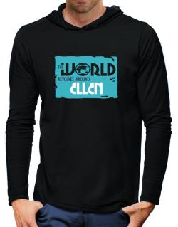 The World Revolves Around Ellen Hooded Long Sleeve T-Shirt-Mens