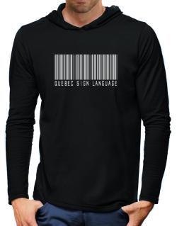 Quebec Sign Language Barcode Hooded Long Sleeve T-Shirt-Mens