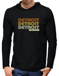 Detroit State Hooded Long Sleeve T-Shirt-Mens