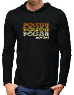 Polson State Hooded Long Sleeve T-Shirt-Mens