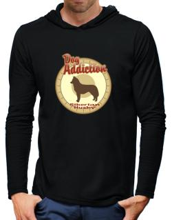 Dog Addiction : Siberian Husky Hooded Long Sleeve T-Shirt-Mens