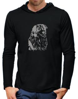 Australian Shepherd Face Special Graphic Hooded Long Sleeve T-Shirt-Mens