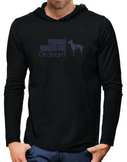 Peruvian Hairless Dog On Board Hooded Long Sleeve T-Shirt-Mens