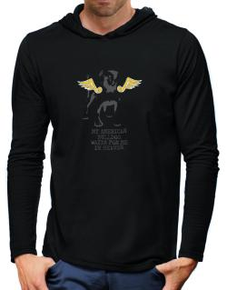 My American Bulldog Waits For Me In Heaven Hooded Long Sleeve T-Shirt-Mens