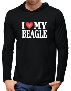 I Love Beagle Hooded Long Sleeve T-Shirt-Mens