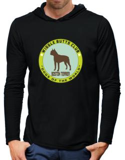 Boston Terrier - Wiggle Butts Club Hooded Long Sleeve T-Shirt-Mens