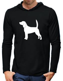 Beagle Silhouette Embroidery Hooded Long Sleeve T-Shirt-Mens