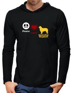 Peace, Love, Australian Shepherd Hooded Long Sleeve T-Shirt-Mens