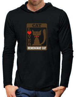 Cat Lover - Hemingway Cat Hooded Long Sleeve T-Shirt-Mens
