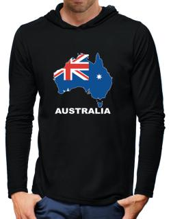 Australia - Country Map Color Hooded Long Sleeve T-Shirt-Mens