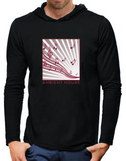 Ambient House - Musical Notes Hooded Long Sleeve T-Shirt-Mens
