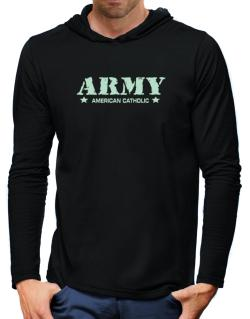 Army American Catholic Hooded Long Sleeve T-Shirt-Mens