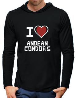 I Love Andean Condors Hooded Long Sleeve T-Shirt-Mens