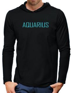 Aquarius Basic / Simple Hooded Long Sleeve T-Shirt-Mens