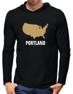 Portland - Usa Map Hooded Long Sleeve T-Shirt-Mens