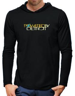 Powered By Detroit Hooded Long Sleeve T-Shirt-Mens