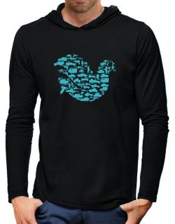 War Dove Collage Hooded Long Sleeve T-Shirt-Mens