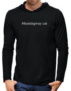 #Hemingway Cat - Hashtag Hooded Long Sleeve T-Shirt-Mens