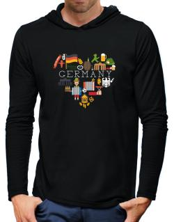 I love Germany Hooded Long Sleeve T-Shirt-Mens