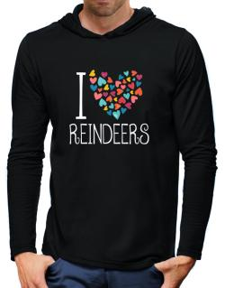 I love Reindeers colorful hearts Hooded Long Sleeve T-Shirt-Mens