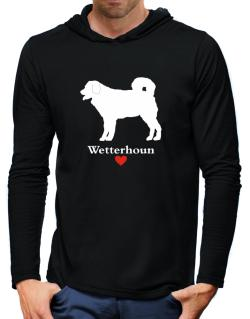 Wetterhoun love Hooded Long Sleeve T-Shirt-Mens