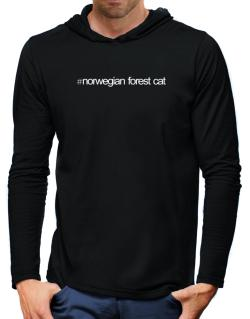 Hashtag Norwegian Forest Cat Hooded Long Sleeve T-Shirt-Mens