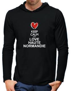 Keep calm and love Haute-Normandie chalk style Hooded Long Sleeve T-Shirt-Mens