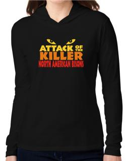 Attack Of The Killer North American Bisons Hooded Long Sleeve T-Shirt Women