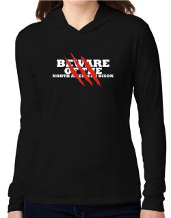 Beware Of The North American Bison Hooded Long Sleeve T-Shirt Women