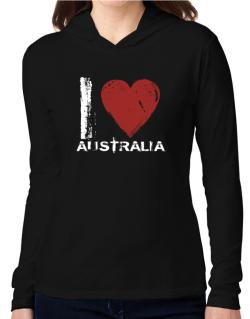 I Love Australia - Vintage Hooded Long Sleeve T-Shirt Women