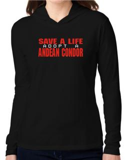 Save A Life, Adopt An Andean Condor Hooded Long Sleeve T-Shirt Women