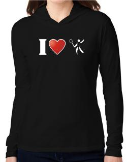 I Love Badminton - Silhouette Hooded Long Sleeve T-Shirt Women