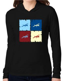 """ Aerobatics - Pop art "" Hooded Long Sleeve T-Shirt Women"