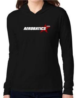 Aerobatics Usa Star Hooded Long Sleeve T-Shirt Women