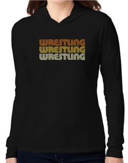 Wrestling Retro Color Hooded Long Sleeve T-Shirt Women